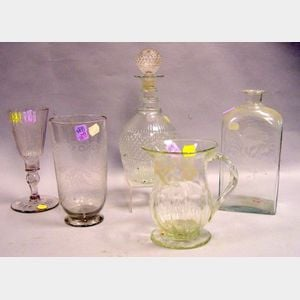 Four 18th and 19th Century Continental Etched Colorless Glass Items and a Blown   Molded Decanter