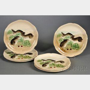 Seven Majolica Rabbit Plates