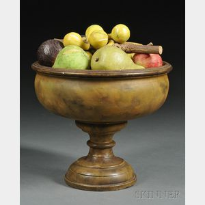 Paint-decorated Turned Wood Compote with Stone Fruit