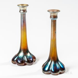 Two Tiffany Studios Gold Favrile Candlesticks