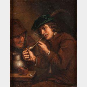 Manner of Adriaen van Ostade (Dutch, 1610-1685)      Smoker Lighting His Pipe
