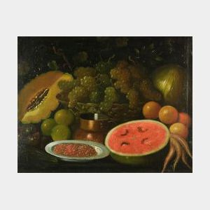 Continental School, 17th Century Style  Still Life with Grapes and Melons.