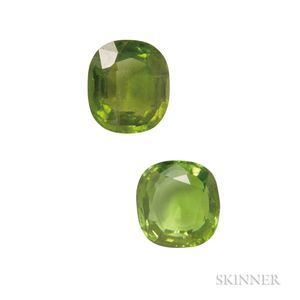 Two Unmounted Cushion-cut Peridots