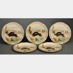 Five Majolica Rabbit Plates