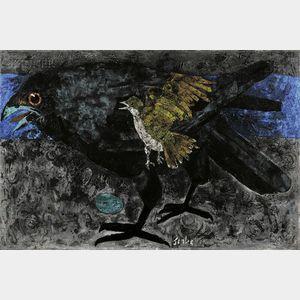 Karl Zerbe (American, 1903-1972)      Kingbird and Raven