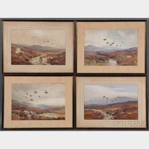 Roland Green (British, 1896-1972)      Four Landscapes with Game Birds in Flight