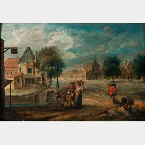 Attributed to Andreas Martin (Dutch, 1720-1767)      Figures Heading to Market in a Dutch Town