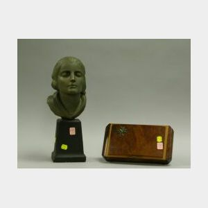 Art Deco Metal Mounted Burl Veneer Musical Jewel Box and a Painted Plaster Bust of a   Woman