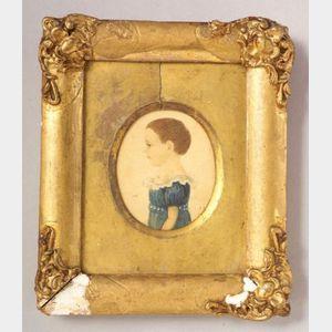 American School, 19th Century    Miniature Portrait of a Little Girl Wearing a Blue Dress.