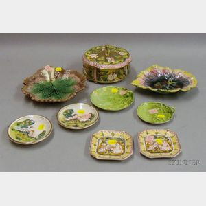 Nine Pieces of Majolica and Other Ceramics