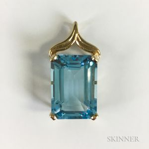 14kt Gold and Blue Topaz Pendant
