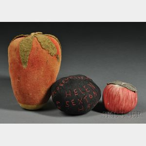 Large Velvet Strawberry Pincushion, Embroidered Pincushion, and a Silk Apple