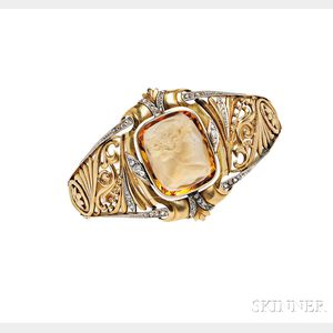18kt Gold, Citrine Cameo, and Diamond Bracelet