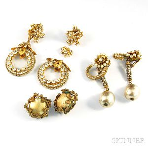Three Pairs of Miriam Haskell and Haskell-type Designer Costume Earrings