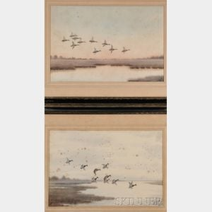 Joseph Day Knap  (American, 1875-1962)      Three Watercolors of Waterfowl in Flight: Redheads Dropping In ,  Blue Wings at Evening