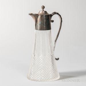 Edward VII Sterling Silver-mounted Cut Glass Wine Ewer