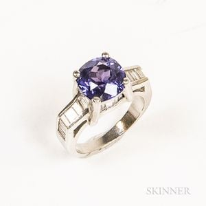 Platinum, Diamond, and Synthetic Color Change Sapphire Ring