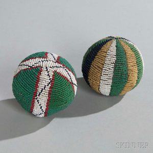 Two Lakota Beaded Hide Balls