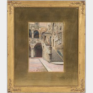 A. Marrani (Italian, 19th/20th Century)      Bargello Courtyard