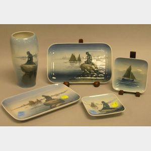 Royal Copenhagen Mermaid and Sailboat Decorated Porcelain Vase and Four Trays.