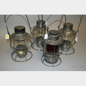 Four Tin Railroad Lanterns