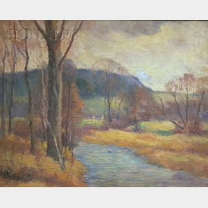 Emmett A. Pratt  (1884-1978)      Country Landscape with a Stream.