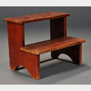 Shaker Red-stained Pine Two-step Stepstool