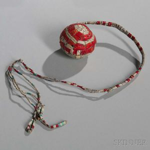 Lakota Quilled Hide Ball with Cradle Straps