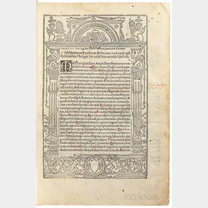 Apuleius (c. 124-c. 170 AD); ed. Filippo Beroaldo the Elder (1435-1505) Commentarii a Philipo Beroaldo Conditi in Asinu[m] Aureu[m] Luc