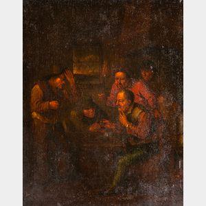 School of Egbert van Heemskerck the Younger (Dutch, 1676-1744)      Men Clustered at a Tavern Table, Reacting in Surprise