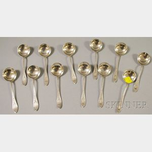 "Set of Twelve Whiting ""Adam"" Sterling Silver Bouillon Spoons"
