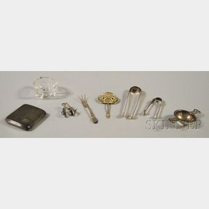 Eight Small Mostly Sterling Silver Items