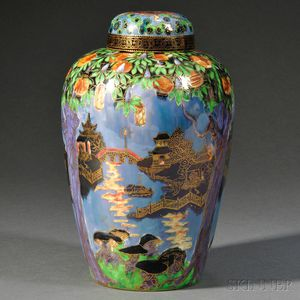 Wedgwood Fairyland Lustre Willow   Pattern Vase and Cover