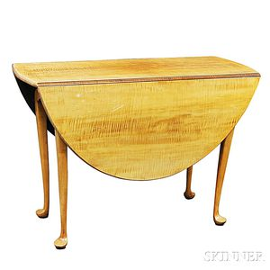 Eldred Wheeler Queen Anne-style Tiger Maple Drop-leaf Table