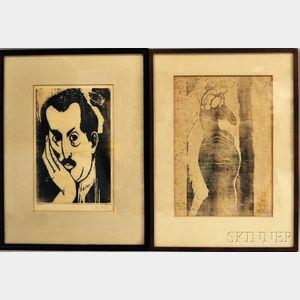 Chana Orloff (French/Ukrainian, 1888-1968)      Two Works: Mustachioed Man