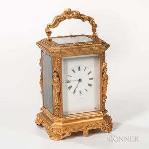 Gilt-brass Rococo-style Carriage Clock
