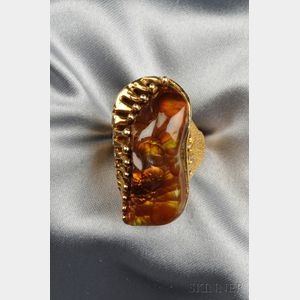 14kt Gold and Fire Agate Ring