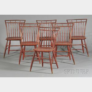 Set of Six Red-painted Square-back Windsor Side Chairs