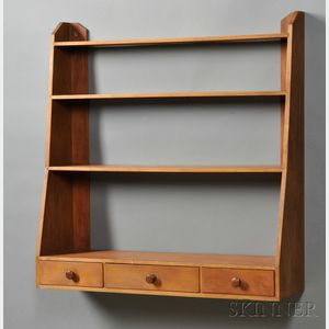 Shaker Maple, Birch, and Pine Hanging Wall Shelf with Three Drawers