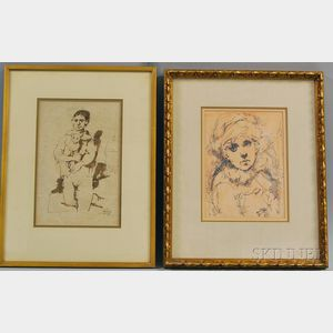Conger A. Metcalf (American, 1914-1998)      Two Figural Drawings of a Boy and Girl