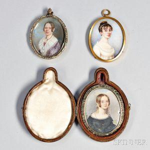 Three Portrait Miniatures of Women