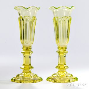 Pair of Canary Yellow Pressed Glass Loop Pattern Vases
