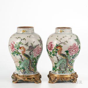 Pair of Enameled Porcelain Jars