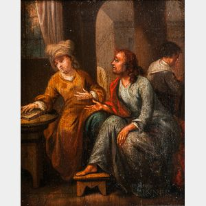 Manner of Johann Rudolf Byss (Swiss, 1660-1738)      Christ in the House of Mary and Martha