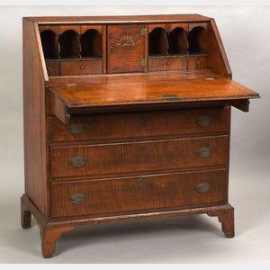 Transitional Carved Tiger Maple Desk