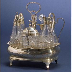 George III Eight Piece Silver Cruet Set