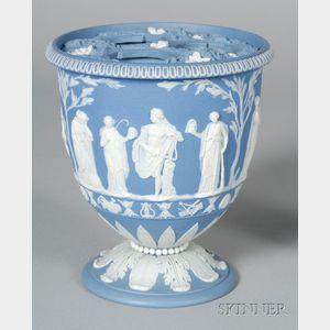 Wedgwood Solid Blue Jasper Bulb Vase and Cover