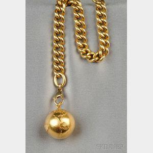 18kt Gold Bracelet and Globe Charm