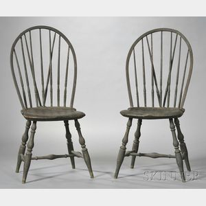 Pair of Brown-painted Braced Windsor Bow-back Chairs