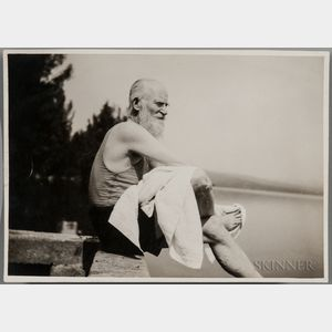 Shaw, George Bernard (1856-1950) Photograph with Autograph Letter Signed on Verso and Autograph Letter Signed.